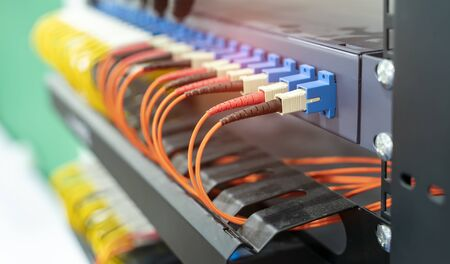Fiber optic cable connect to communication Distribution point Stock fotó