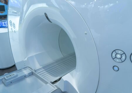 CT examination in the process. Detail of MRI scanner