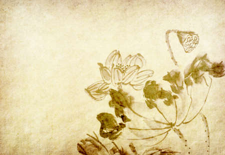 Lotus flower chinese watercolor painting
