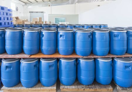 Blue Plastic barrels contain in factory