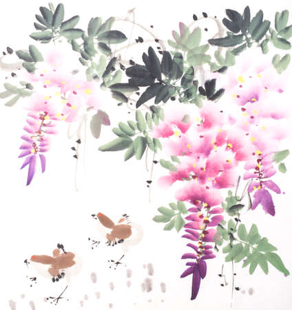 Chinese watercolor painting of wisteria and birds