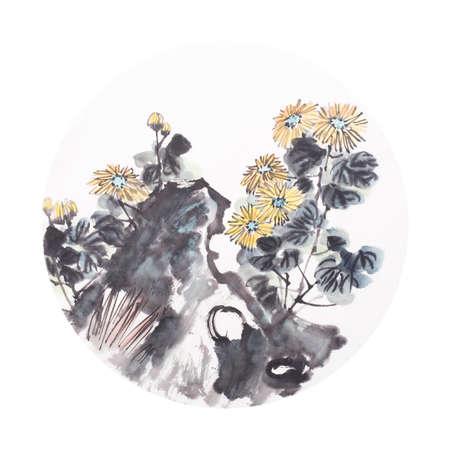 Chinese watercolor painting of chrysanthemum Stockfoto