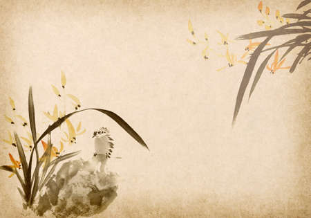 Chinese traditional ink painting of orchid and bird