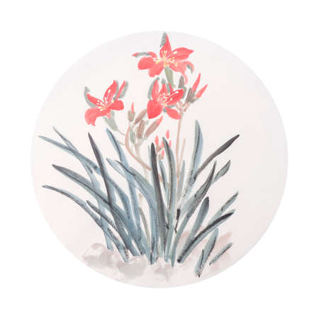 Chinese traditional ink painting of orchid