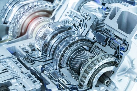 Metallic background of car automotive transmission gearbox