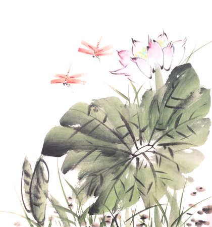 Chinese painting of a Lotus with dragonfly Banque d'images
