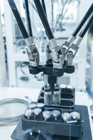 artificial intelligence machine at industrial manufacture factory of battery