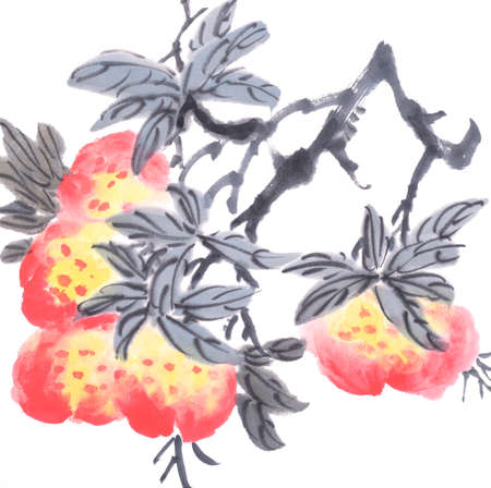 Chinese traditional painting of peach