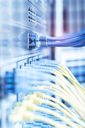 network cable connecting on network core switch close up Stockfoto