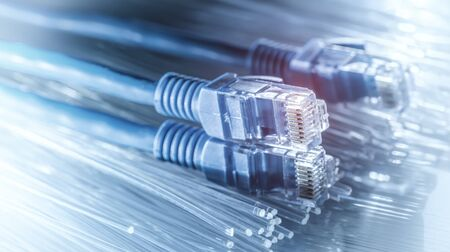 Ethernet cable lan internet wire data connection. Networking and communication