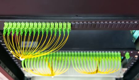 Fiber optic network cable connect to communication Distribution point Stock fotó