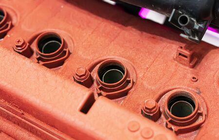red modern powerful car engine section Фото со стока