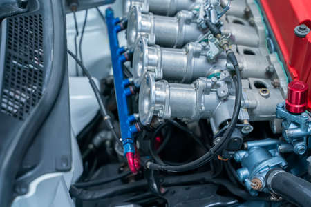 modern powerful car engine section Фото со стока