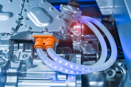 electric system of eco car engine, Automotive part concept.