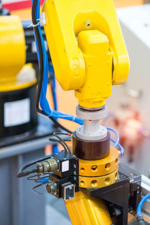 robotic machine tool in industrial manufacture factory, Smart factory industry 4.0 concept.