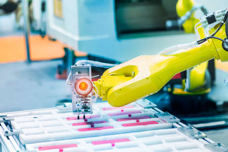 smart robot in manufacturing industry for industry 4.0 and technology concept. Robotic vision sensor camera system in intelligence factory Imagens