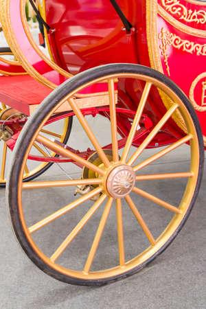 vintage wheel of old luxury carriage
