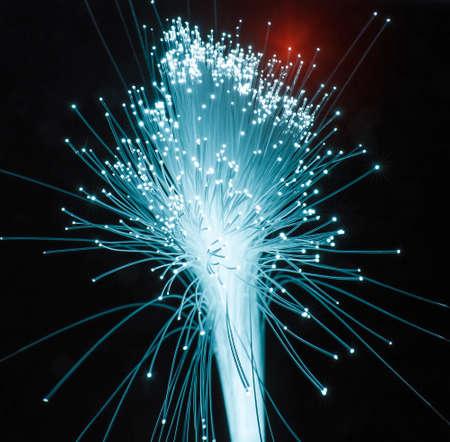 Fiber optics network cable on technology background Banco de Imagens