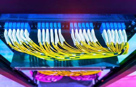 Fiber optic network cable connect to communication Distribution point Banco de Imagens