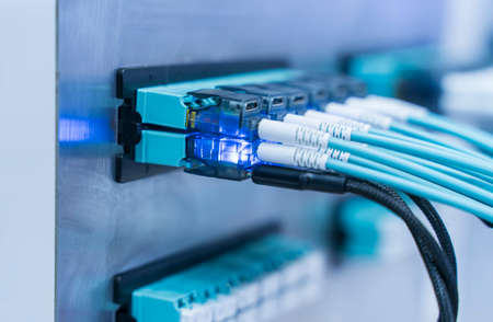 Fiber optic network cable connect to communication Distribution point 版權商用圖片