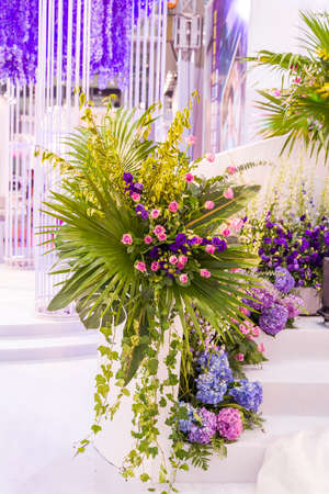 wedding decoration with beautiful flowers.