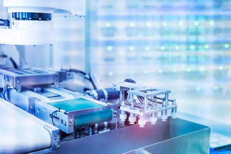 robotic pneumatic piston sucker unit on industrial machine,automation compressed air factory production Banco de Imagens
