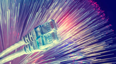 network cables with fiber optical background Banco de Imagens