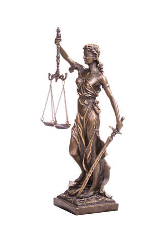 Statue of justice isolated on white, law concept