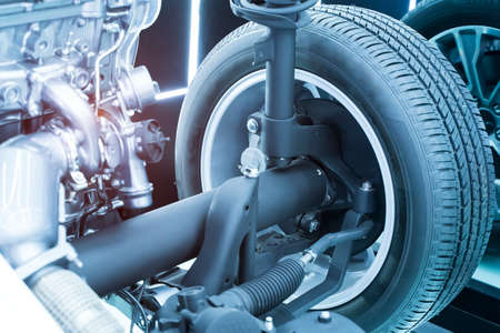electric system of eco car front driving axle in the car, visible elements of the steering system