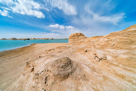 Water Yardang landform Geopark at Qinghai China 免版税图像