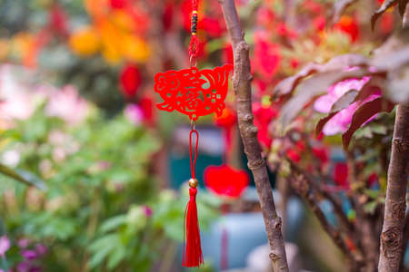 Lucky knot hanging on flower for Chinese new year greeting,Chinese character means good bless for new year