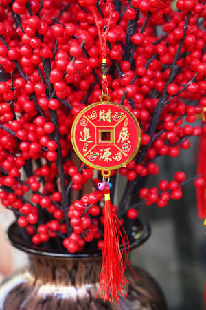 Lucky knot hanging on flower for Chinese new year greeting,Chinese character means good bless for money