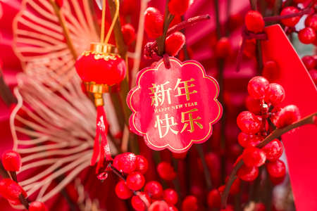 Lucky knot hanging on flower for Chinese new year greeting,middle Chinese character on card means happy new year