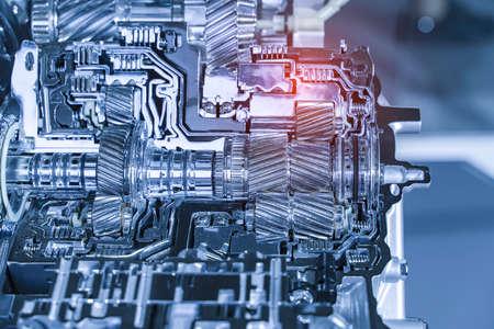 Metallic background of car automotive transmission gearbox 免版税图像