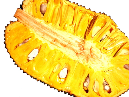 yellow color half piece of ripe jackfruit on white background