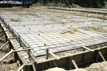 concrete floor: Concrete floor slab with wire mesh on top ready for concreting