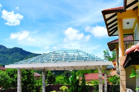 Roof structure with blue sky background Stock Photo