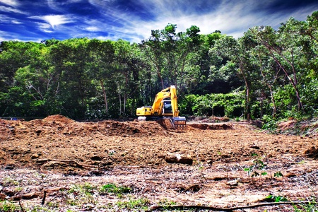 leveling: Excavator doing site clearing
