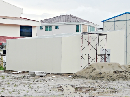 Likas, Sabah - 1st 2009: Construction view during construction of modular house show unit