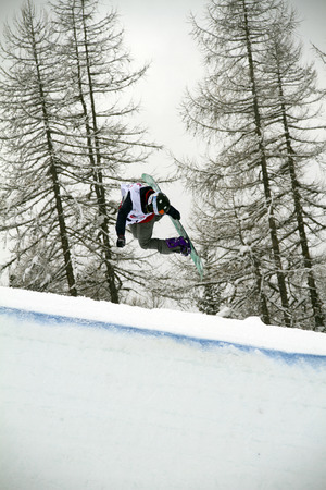 moguls: FIS Junior World Championships 2014- Halfpipe - in chiesa valmalenco italy - wed 26 mar 2014 - Mastro Maddie (USA) Editorial