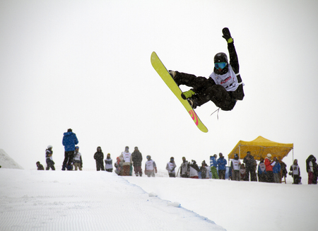 moguls: FIS Junior World Championships 2014- Halfpipe -in chiesa valmalenco italy - wed 26 mar 2014 - rayward jordan john (nzl) Editorial