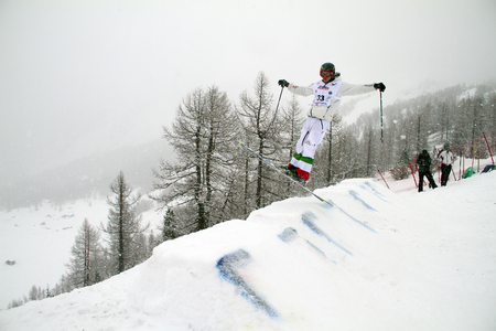 moguls: Fis freestyle junior world championships 2014  - in Chiesa Valmalenco Italy - Wed 26 mar 2014 -Ferioli luca italy Editorial