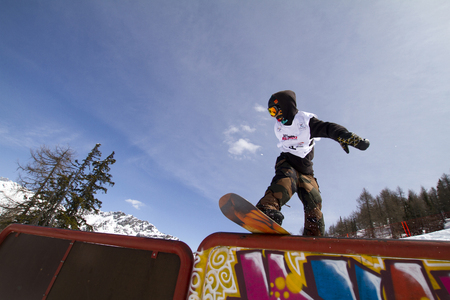 Fis freestyle junior world championships 2014  - in Chiesa Valmalenco Italy - 30 march 2014 - slopestyle - Bremner findlay (Gbr)