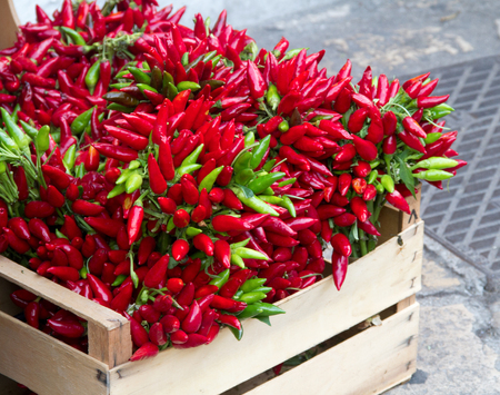 red chili box of salento, italy Stock Photo