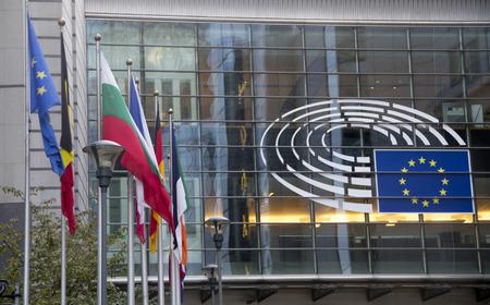 Brussels, Belgium - October 30, 2016: exterior of european parliament in brussels, belgium Archivio Fotografico - 105182591