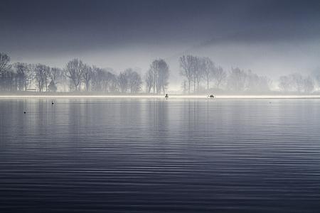Como lake in sorico italy in winter Archivio Fotografico