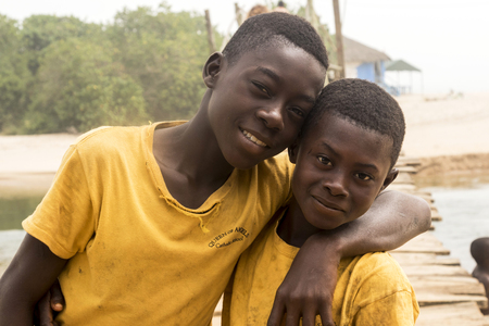 Accra, Ghana - December 30, 2016: happy African children in Accra, Ghana. Archivio Fotografico - 105182712
