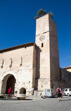 Spello, August, 12, 2016: The historic church in Spello, Umbria, Italy