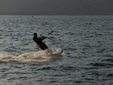 Kite at sunset on the Como lake - italy Archivio Fotografico - 118444320