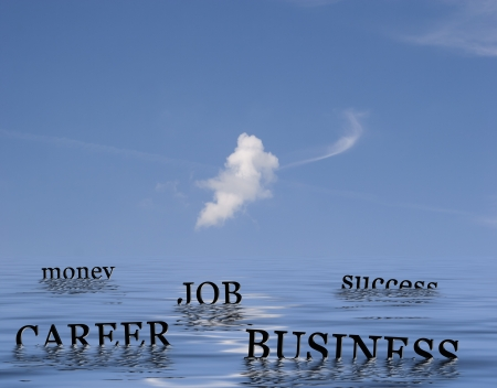 buoys: Floating buoys in the form of words.  Conceptual image of business, career, job, success and money.